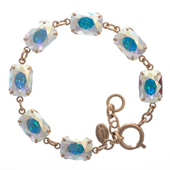Catherine Popesco Pillow Cut Crystal Bracelet - Crystal AB and Gold
