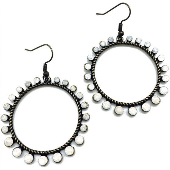 Sweet Lola Round Bronze Earrings with White Opal Stones Around Circle