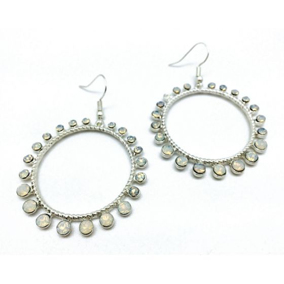 Sweet Lola Round Mat Silver Earrings with White Opal Stones Around Circle