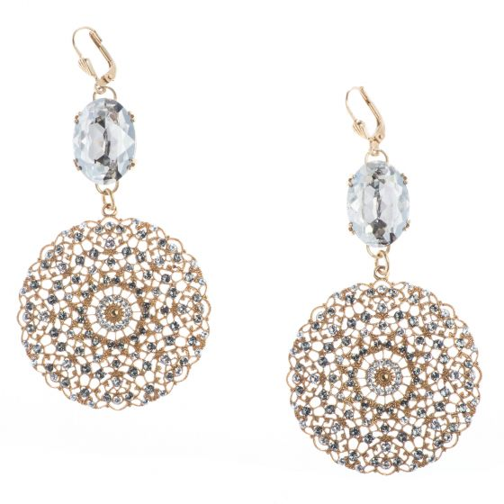 Catherine Popesco Large Round Gold Lacy Earrings with Oval Crystal