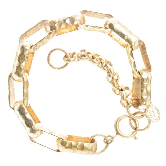 Catherine Popesco Hammered Large Link Bracelet in Gold