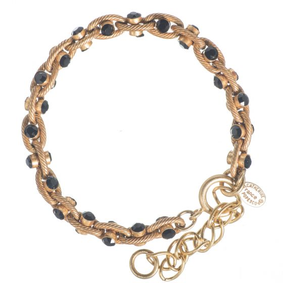 Catherine Popesco Jet Black Crystal and Gold Rope Chain Bracelet