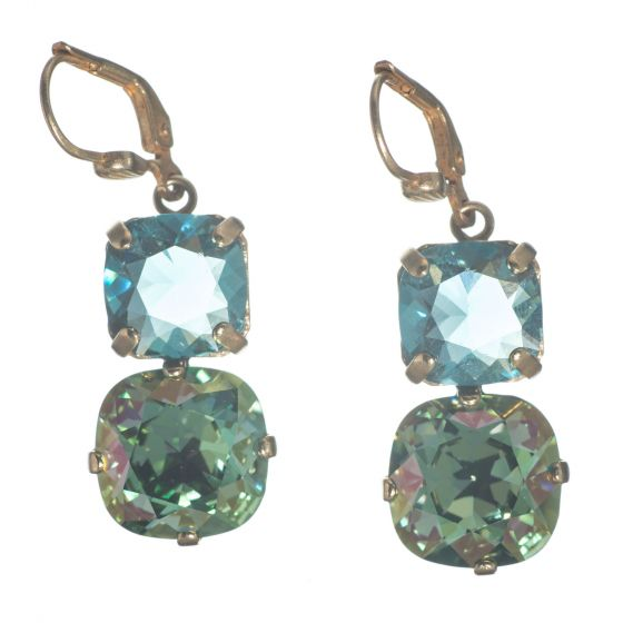 Catherine Popesco Large & Medium Stone Crystal Combo Earrings - Ocean