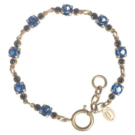 Catherine Popesco Petite Stone Crystal Bracelet - Blue Sapphire & Gold