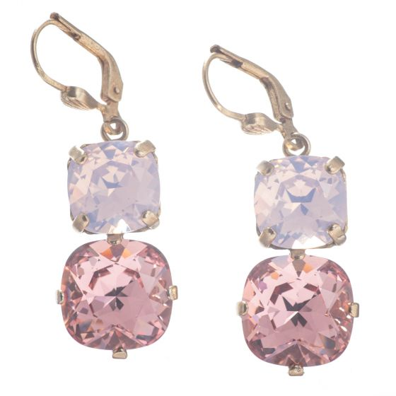 Catherine Popesco Large & Medium Stone Crystal Combo Earrings - Pink