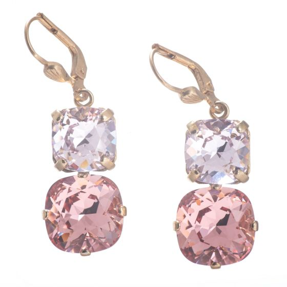 Catherine Popesco Large & Medium Stone Crystal Combo Earrings - Peach & Petal