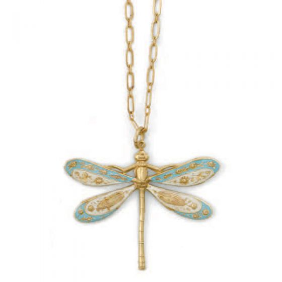 Catherine Popesco Blue & White French Enamel Dragonfly Necklace