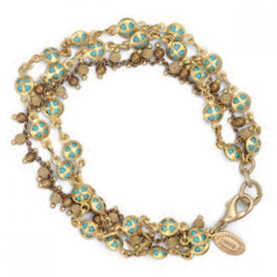 Catherine Popesco Three Strand Turquoise and Gold Bracelet