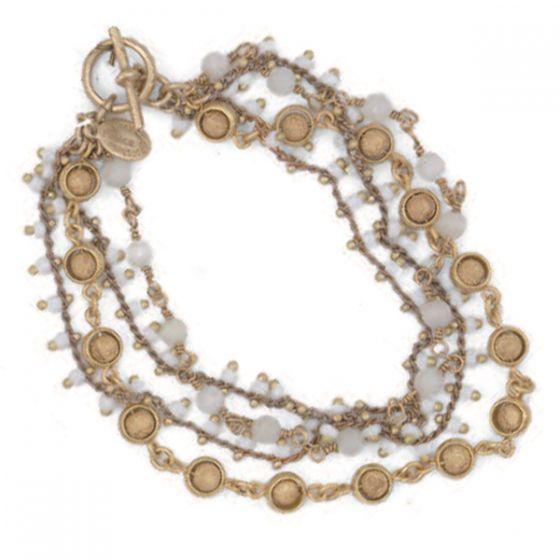 Catherine Popesco Four Strand White and Gold Beaded Bracelet