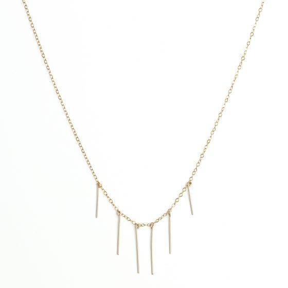 KOZAKH Handmade Minimalist Jewelry - Delicate Long Stala Dainty Bars Necklace - 14K Gold Filled