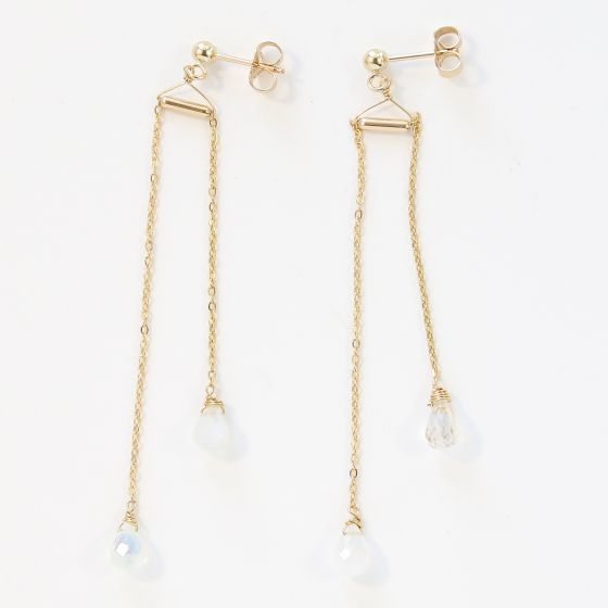 KOZAKH Handmade Minimalist Jewelry - Balance Moon Dainty & Delicate Bar Earrings - 14K Gold Filled