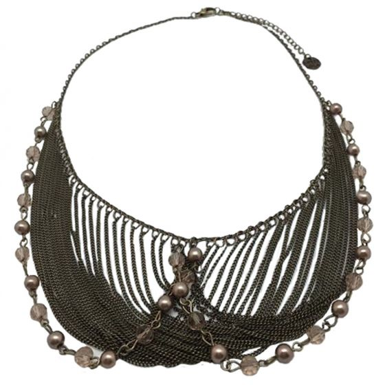 Sweet Lola Antique Bronze Draped Pearl and Multi Chain Statement Necklace