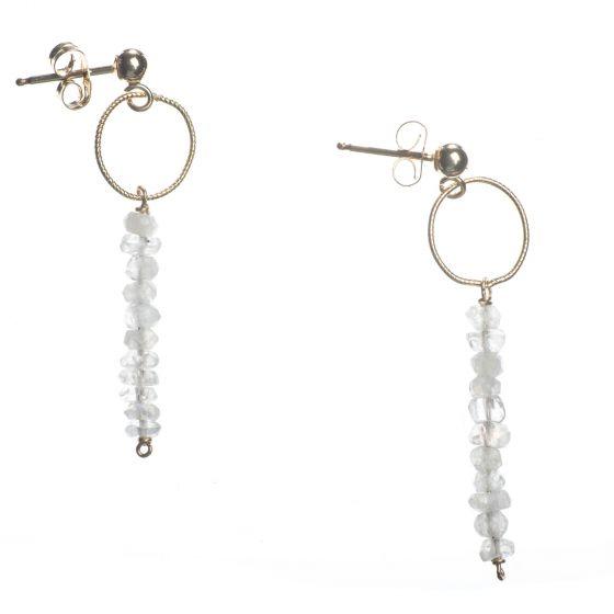 KOZAKH Minimalist Jewelry - Layla Moon Dainty & Delicate Bar Earrings - 14K Gold Filled