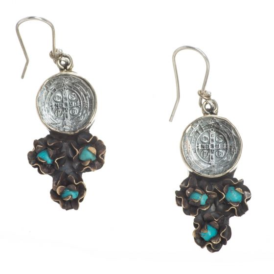 Barbosa Earrings St Benito Cross Hand Cut Glass with Mini Roses