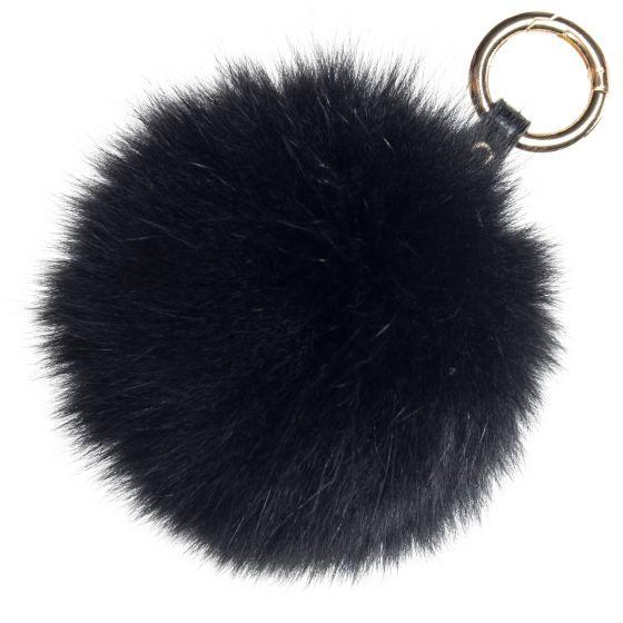 Raj Real Fox Fur Pompom Keychain - Purse Charm - Black