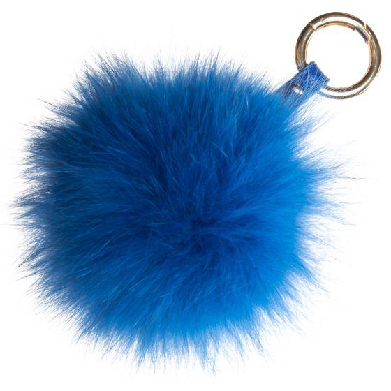 Raj Real Fox Fur Pompom Keychain - Purse Charm - Royal Blue