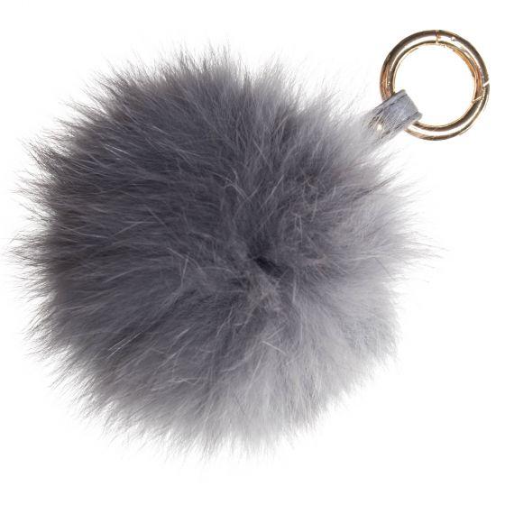 Raj Real Fox Fur Pompom Keychain - Purse Charm - Grey