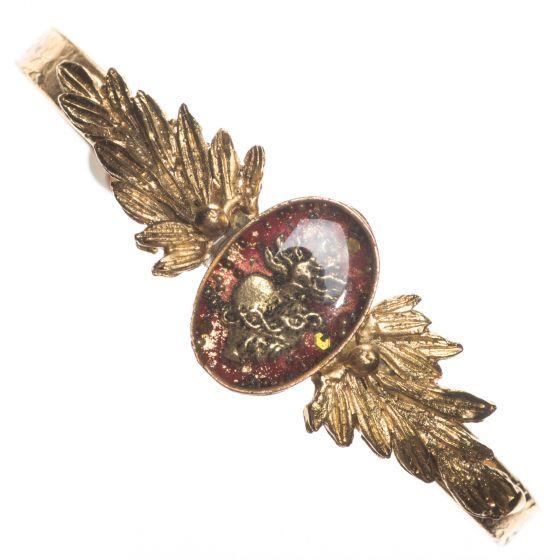 Barbosa Bracelet Red Enamel Sacred Heart Skinny Renaissance Cuff