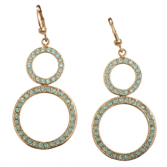 Catherine Popesco Pacific Opal Gold Double Circle Crystal Earrings