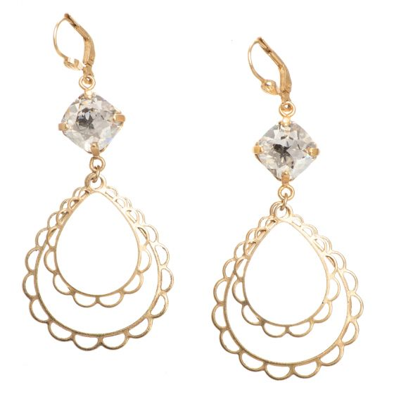 Catherine Popesco Scalloped Teardrop Crystal Earrings - Assorted Colors