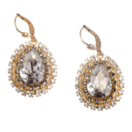 Catherine Popesco Fancy Teardrop Crystal Earrings - Shade or PO