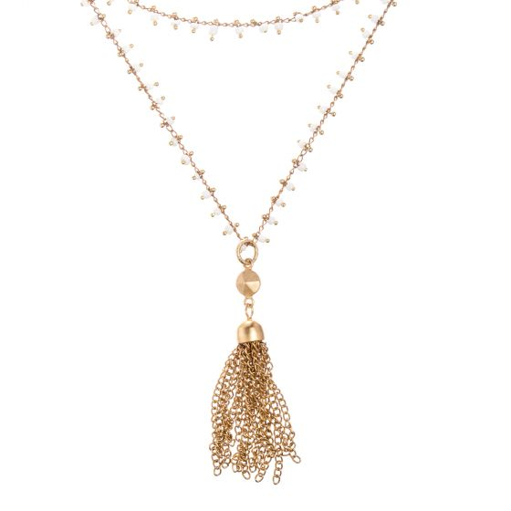 Catherine Popesco Necklace - White Beaded Chain with Gold Tassel