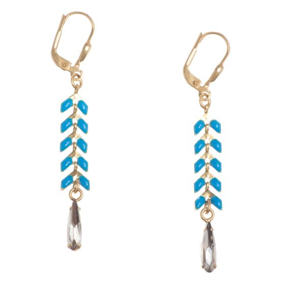 Catherine Popesco Teal Enamel Leaf Strand Earrings with Crystal Drop
