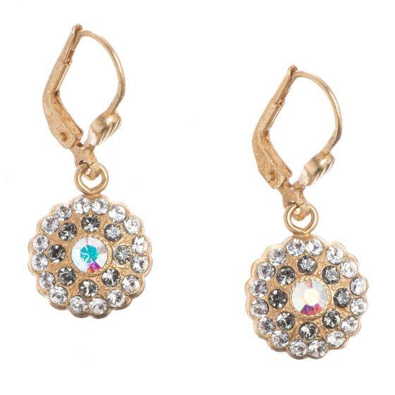 Catherine Popesco Earrings - Gold Petite Round Pave Stones