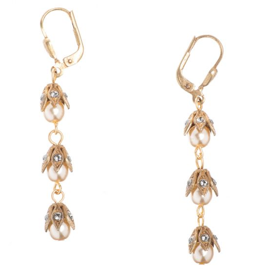 Catherine Popesco Earrings - Three Tier Capped Beads - Pearl or Pacific Opal