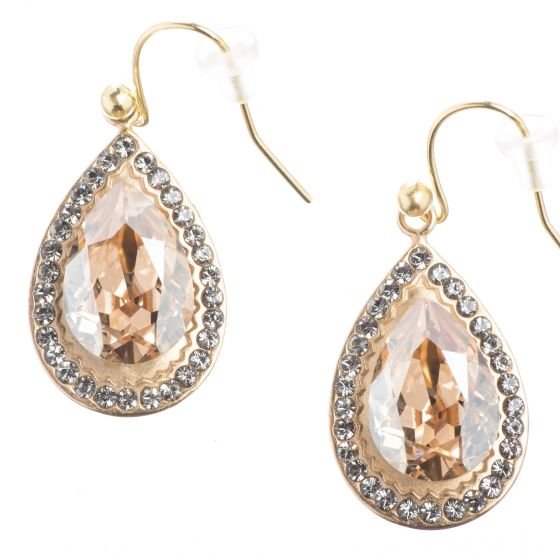 Catherine Popesco Earrings - Gold Teardrop w/ Crystals - Assorted Colors
