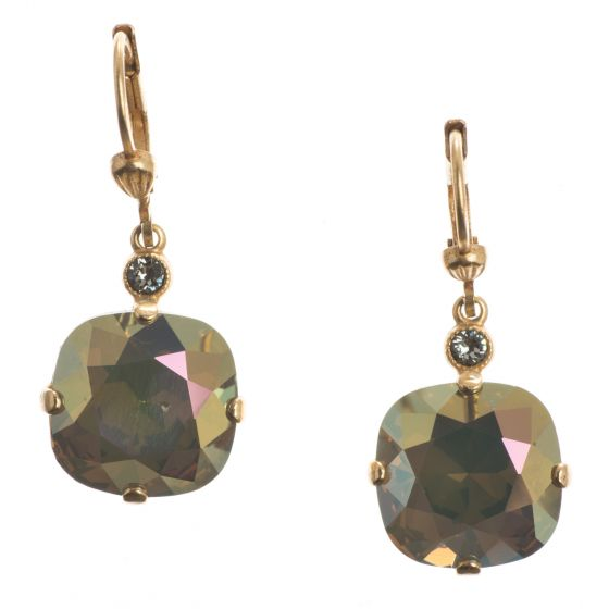 Catherine Popesco Large Stone Crystal Earrings - Sand Opal and Gold