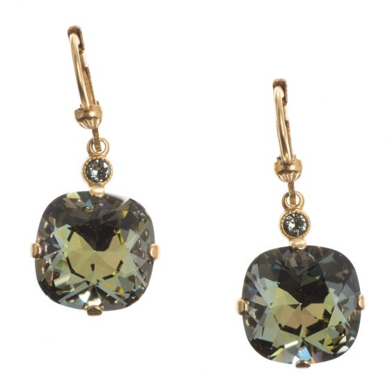 Catherine Popesco Large Stone Crystal Earrings - Tabac and Gold