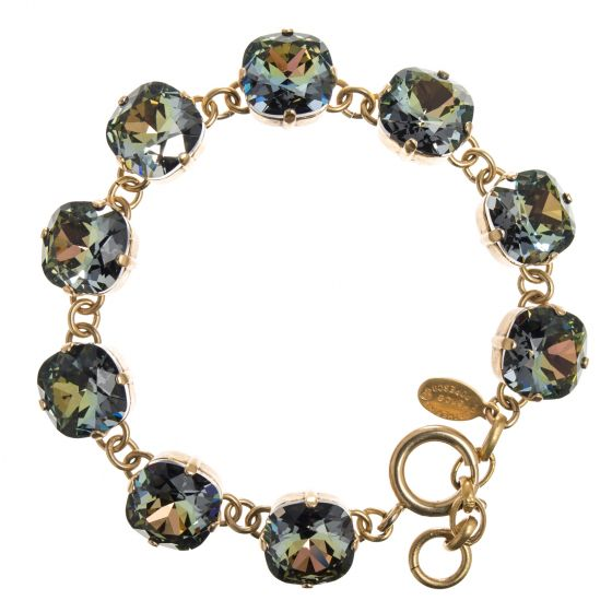 New! Catherine Popesco Large Stone Crystal Bracelet - Tabac