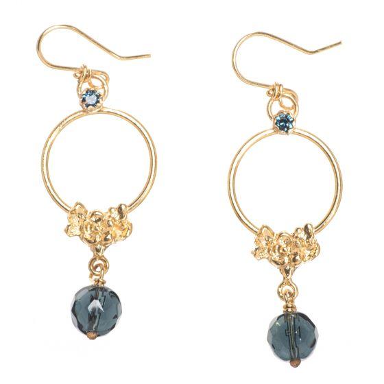 Barbosa Earrings - 24K Gold Dangling Floral Hoops w/ Montana Beads