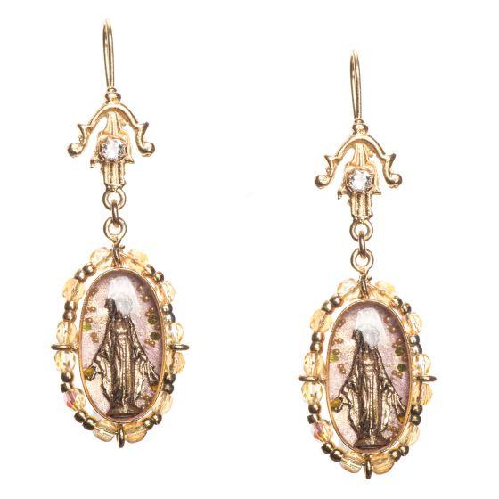 Barbosa Inmaculada - Immaculate Pink Beaded Enamel Earrings