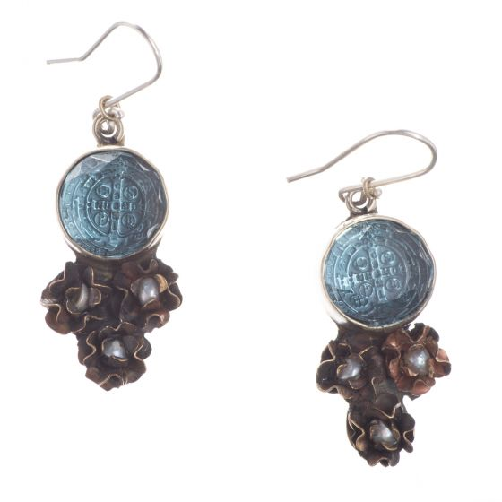 Barbosa Earrings St Benito Cross Hand Cut Blue Glass with Mini Pearl Roses