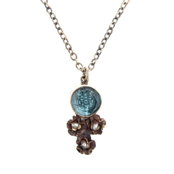 Barbosa Necklace St Benito Cross Hand Cut Blue Glass with Mini Pearl Roses