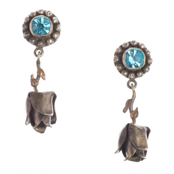 Barbosa Earrings - Vibrant Aqua Crystal Post with Silver Dangling Roses