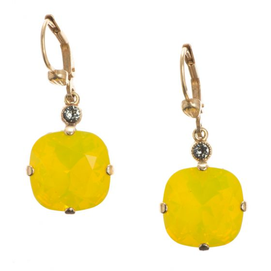 Catherine Popesco Large Stone Crystal Earrings - Canary Yellow