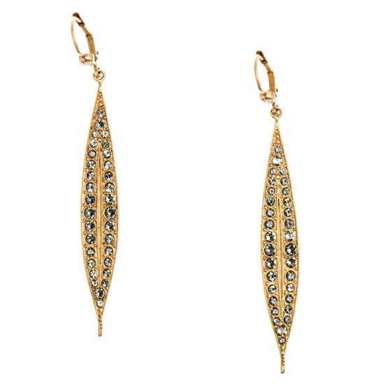 Catherine Popesco Long Spear Earrings - Black Diamond Crystals