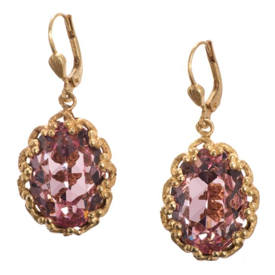 Catherine Popesco Fancy Oval Crystal Earrings - Vintage Rose & Gold