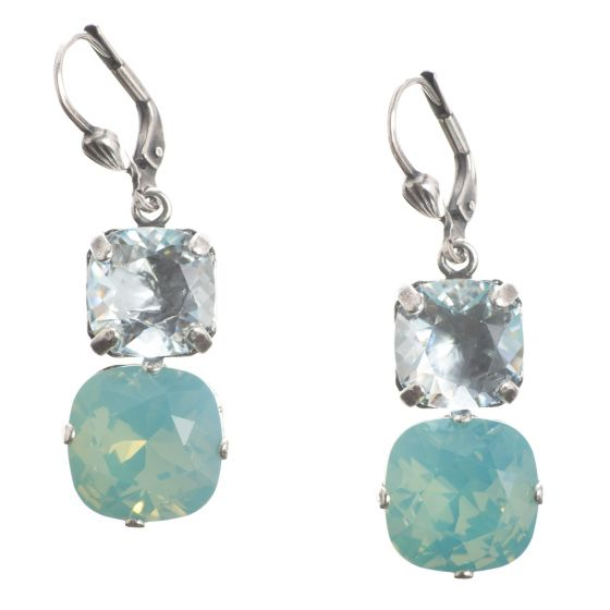 Catherine Popesco Large & Medium Stone Crystal Combo Earrings - Pacific Opal & Ice in Silver