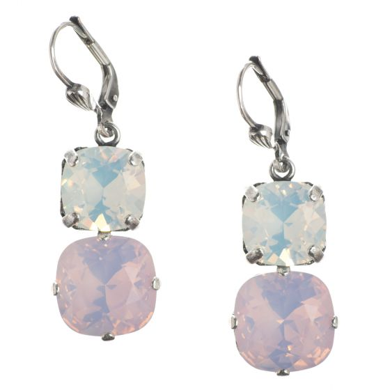 Catherine Popesco Large & Medium Stone Crystal Combo Earrings - Rosewater & White Opal