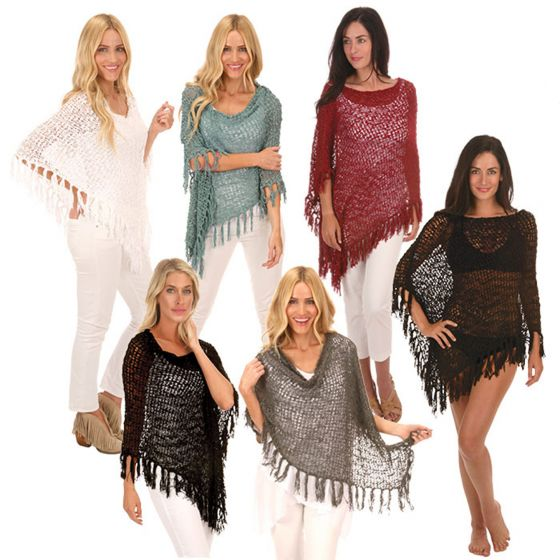Boho Fringed! Lost River Popcorn Knit Ponchos - Assorted Colors