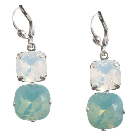 Catherine Popesco Large & Medium Stone Crystal Combo Earrings - Pacific Opal & White Opal