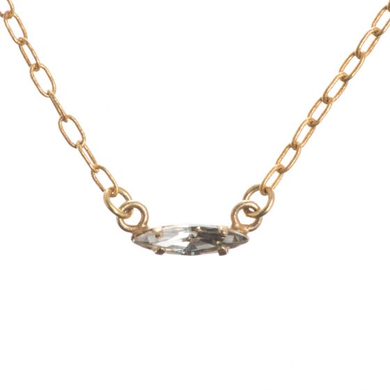 Catherine Popesco Shade & Gold Dainty Bar Marquise Crystal Layering Necklace