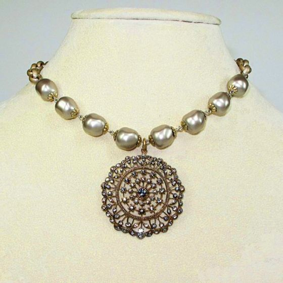 La Vie Parisienne Large Pearl and Medallion Necklace