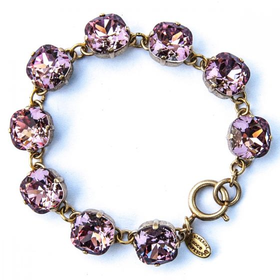 Catherine Popesco Large Stone Crystal Bracelet - Vintage Pink and Gold