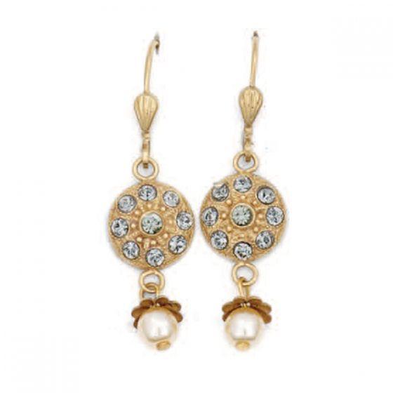 Catherine Popesco Black Diamond Crystal & Pearl Drop Earrings
