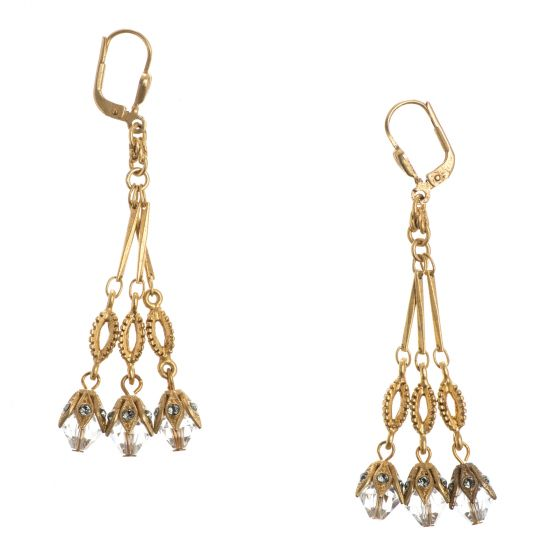 Catherine Popesco Gold Crystal Triple Drop Dangle Earrings